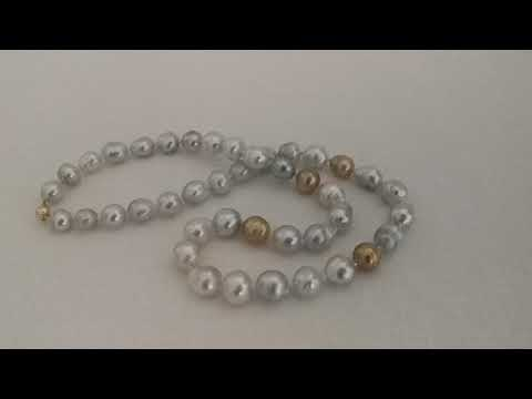 Load and play video in Gallery viewer, Baroque Shape Natural Color South Sea Pearls necklace