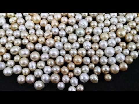 Load and play video in Gallery viewer, Loose Pearls 9-14 mm White & Golden Color, Round, Oval, Drop Shapes
