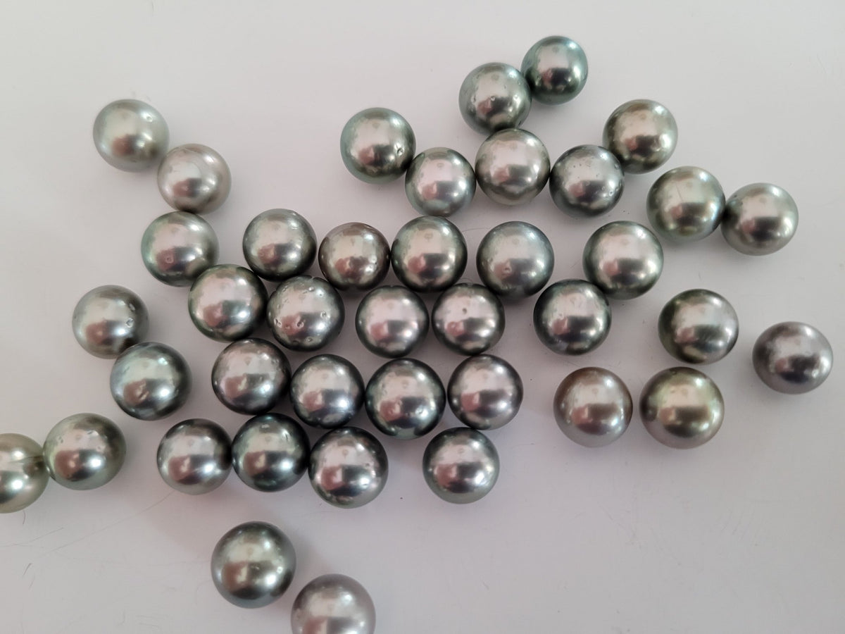 Tahiti Pearls 9 mm Round AAA, High Lustre, Lotto all'ingrosso di 40 pezzi - The South Sea Pearl