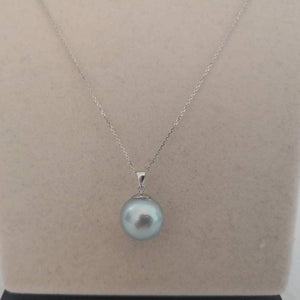 Unique Blue Natural Color 14 mm Round South Sea Pearl Pendant