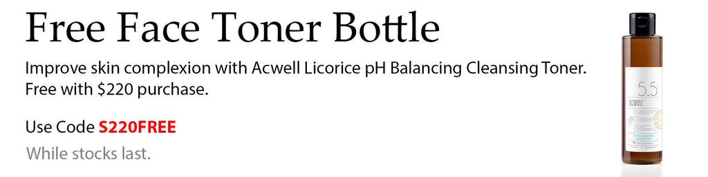Free Acwell Licorice pH Balancing Cleansing Toner with $220 spend at Lila Beauty. Add the item to your cart and use code S220FREE at checkout to apply.