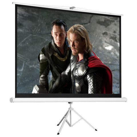 100 inches  4:3 HD Foldable Tripod Stand Projector Screen Home Pull Up Matte White - cloudmountainproducts