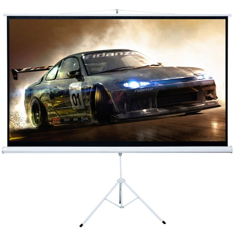 100 inches  Tripod 16:9 HD Portable Projector Screen Matte Pull Up w/ Foldable Stand - cloudmountainproducts