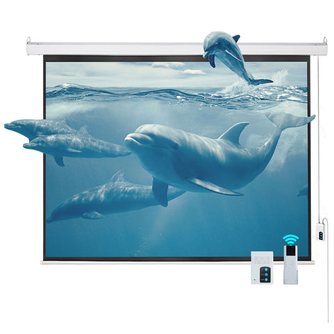 100 inches  4:3 HD Electric Projector Screen Matte Remote Control Home Theater Screen - cloudmountainproducts