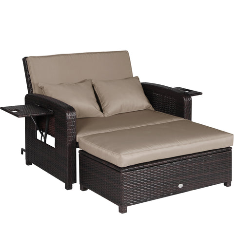 2 PC Outdoor Rattan Wicker Sofa Loveseat and Ottoman Furniture Set Lounge Chair - cloudmountainproducts