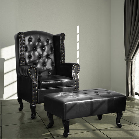 Tufted Accent Chair and Ottoman Black Faux Leather Sofa Club Classic Couch - cloudmountainproducts