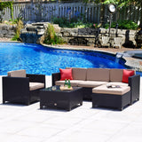 6PC Outdoor Patio Furniture Rattan Wicker Sofa Couch Garden Sectional Set Black - cloudmountainproducts