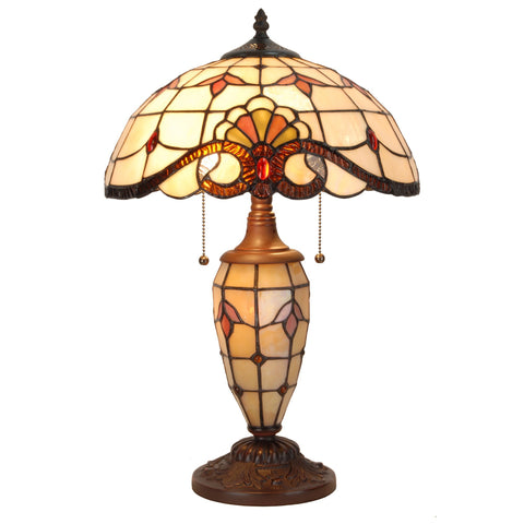 Tiffany Style Table Desk Lamp Victorian Double Lit Stained Glass Base Home Decor Lighting - cloudmountainproducts