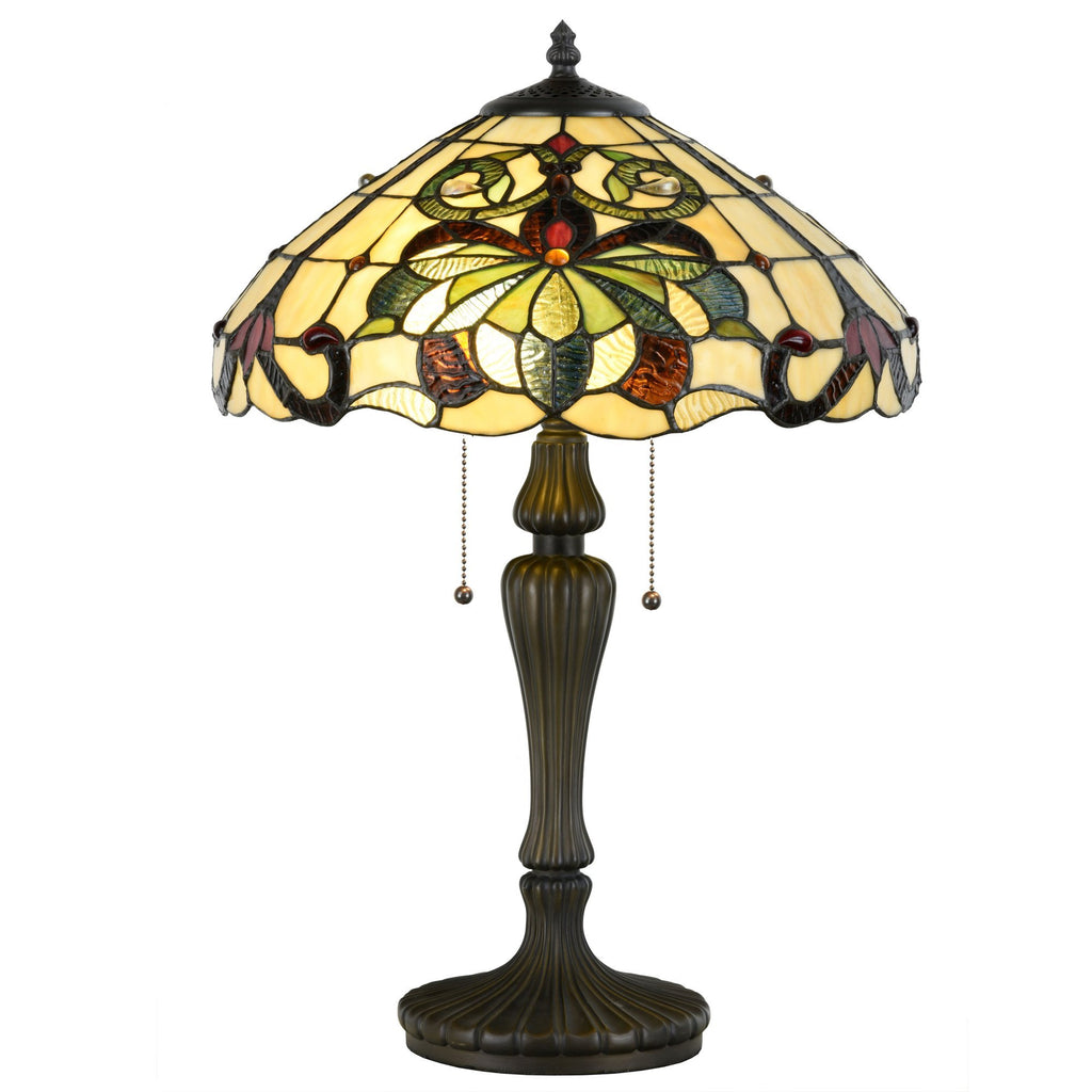 Tiffany Style Swirling Shells Table Lamp Baroque Jeweled Desk Lamp Home Decor - cloudmountainproducts