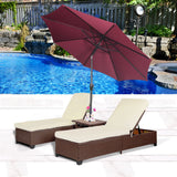 4PC Outdoor Patio Wicker Rattan Pool Chaise Lounge Chair w/ Adjustable Umbrella - cloudmountainproducts