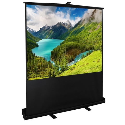 100 inches Diagonal 4:3 Projector Screen Portable Pull up Floor with Aluminium Case - cloudmountainproducts