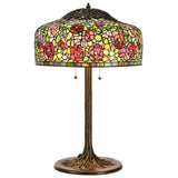 Tiffany Style Table Lamp Brass Base Victorian Rose Jeweled Desk Lamp Stained Glass Home Decor Lighting