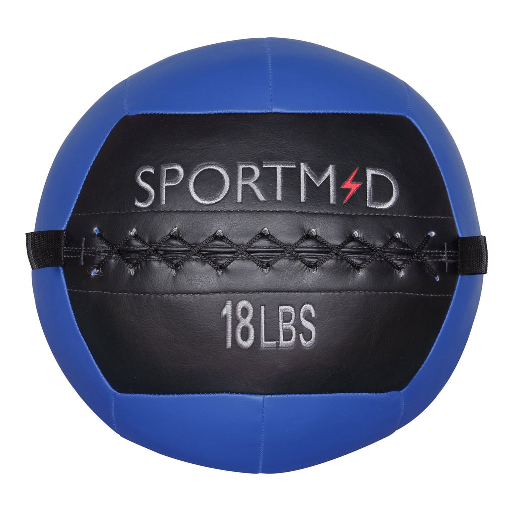 18LBS Soft Weighted Medicine Ball Wall Ball for Workout Blue - cloudmountainproducts