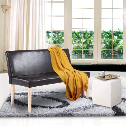 Cushioned Bench Wood Frame Living Room Sofa Bedroom Chair Brown NEW - cloudmountainproducts