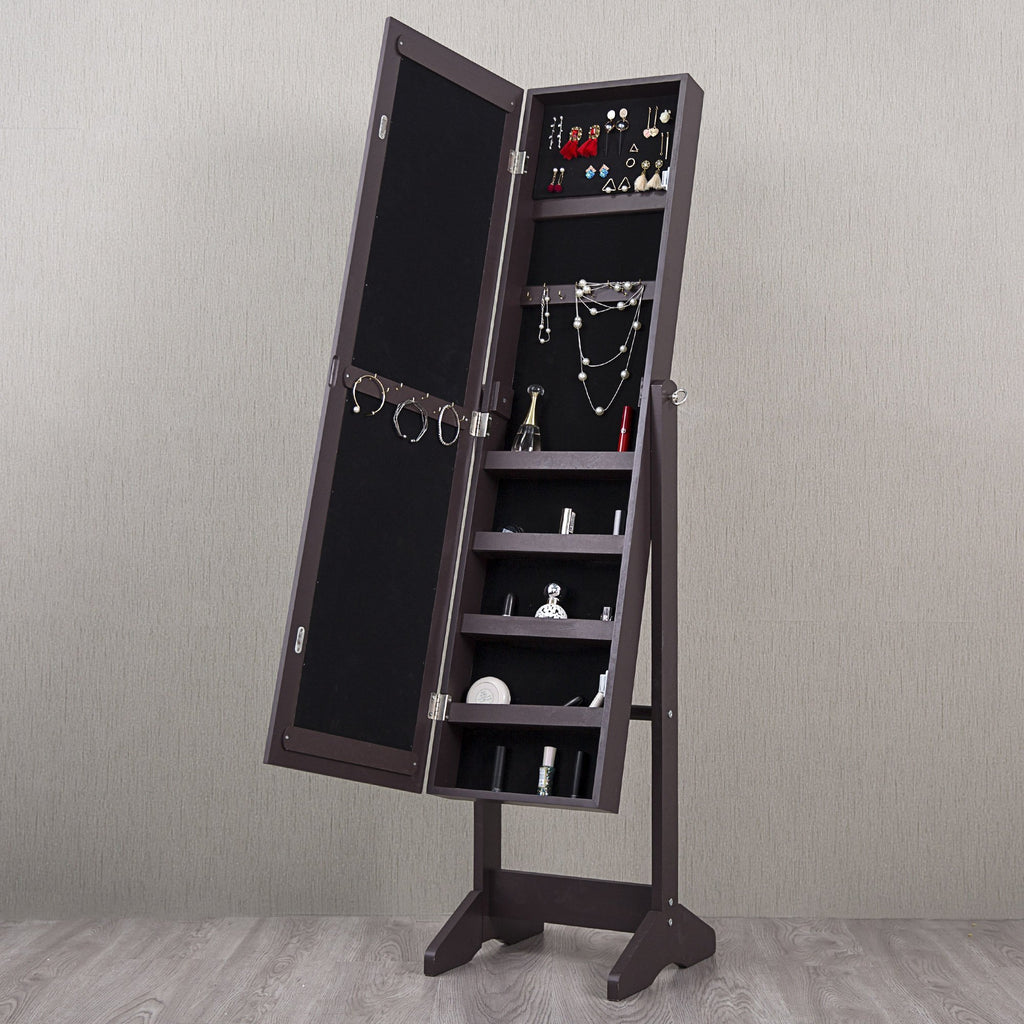 Mirror Jewelry Cabinet Standing Armoire Adjustable Organizer Storage Espresso - cloudmountainproducts