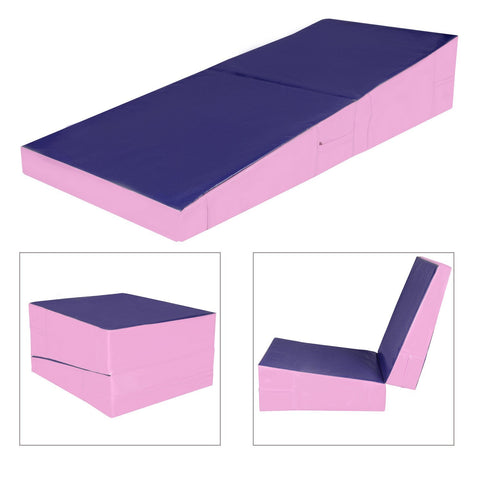 60 inches x30 inches x15 inches  Folding Incline Gymnastics Mat Ramp Wedge Tumbling Mat Slope Pink - cloudmountainproducts