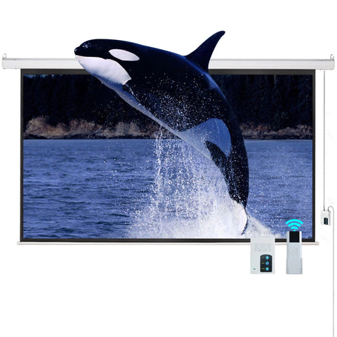 100 inches  16:9 HD Electric Projector Screen Matte Remote Control Home Theater Screen - cloudmountainproducts
