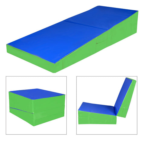 48 inches x24 inches x14 inches  Folding Incline Gymnastics Mat Ramp Wedge Tumbling Mat Slope Blue - cloudmountainproducts