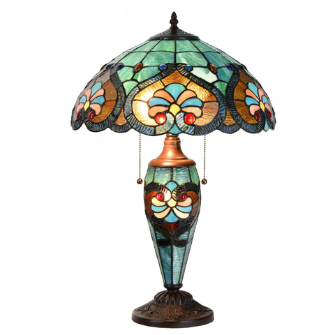 Tiffany Style Victorian Home Decor Desk And Table Lamp with Stained Blue Glass Shade - cloudmountainproducts
