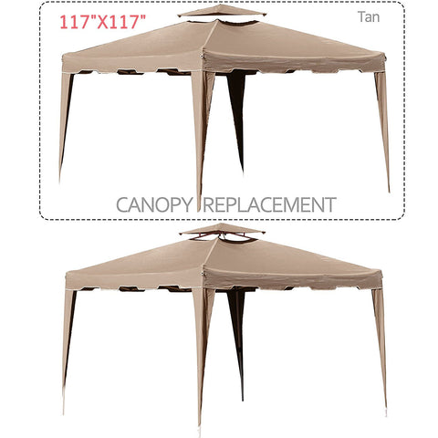 117 x 117inch Gazebo Replacement Canopy Top Cover Dual Tier Outdoor Garden Patio - cloudmountainproducts