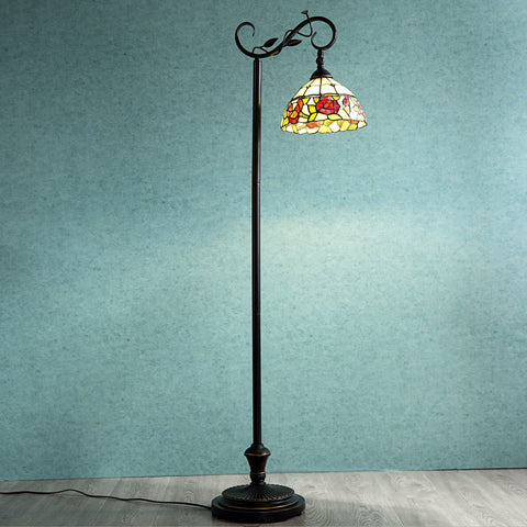 Stained Glass Tiffany Style Home Floor Lamp Victorian Rose Stained Glass Shade - cloudmountainproducts