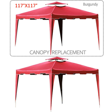117 inches  x 117 inches  Gazebo Replacement Canopy Top Cover Dual Tier Outdoor Garden Patio - cloudmountainproducts