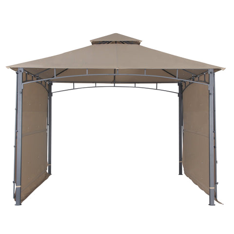Garden Gazebo with Two Sunshade Wall Curtain Patio Canopy 130 x 130 inch Sand - cloudmountainproducts