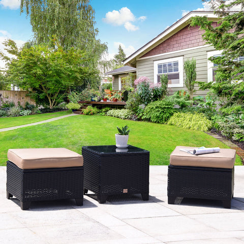 3 PC Outdoor Patio Rattan Garden Wicker Ottoman Set Seat with Glass Coffee Table - cloudmountainproducts