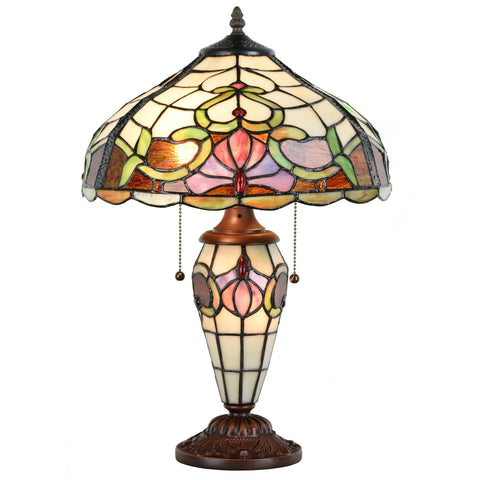 Tiffany Style Stained Glass Victorian Vintage Home Table Lamp 14 inches  floral shade - cloudmountainproducts