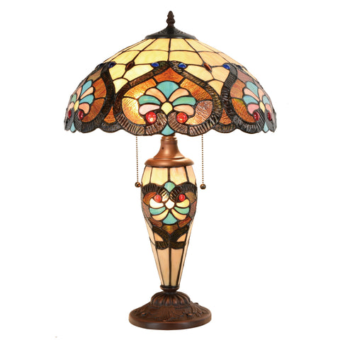 Tiffany Table Lamp Victorian Jeweled Double Lit Desk Lamp Stained Glass Lighting