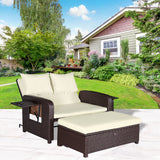 2 PC Rattan Wicker Love Seat Sofa Daybed Set Outdoor Patio Ottoman Lounge Chair - cloudmountainproducts