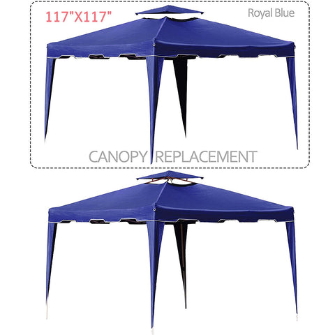 117 inches  x 117 inches  Gazebo Replacement Canopy Top Cover Dual Tier Outdoor Garden Patio