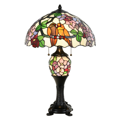 Tiffany Style Lamp Victorian Birds Floral Stained Glass Desk Lamp Home Decor