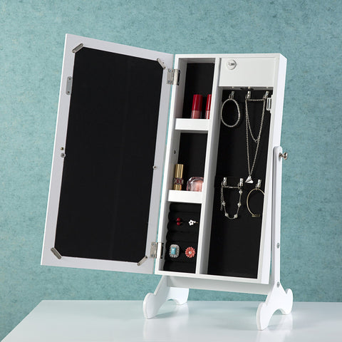 Mirrored Jewelry Cabinet Armoire Mini Table Organizer Storage Box with LED Light - cloudmountainproducts