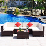 7 PC Patio Outdoor Furniture Rattan Wicker Garden Sofa Sectional Couch Set - cloudmountainproducts