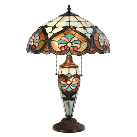 Tiffany Style Victorian Jeweled Double Lit Desk Lamp Glass Home Decor Lighting