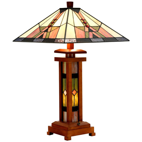 Tiffany Style Wooden Table Lamp Mission Double Lit Design Lighting Desk Lamp