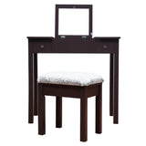 Vanity Table Set Makeup Flip-top Mirrored Dressing Table Set w/ Stool 2 Drawer