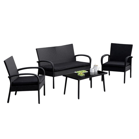 Outdoor 4 PC Wicker Rattan Patio Sectional Set Sofa Glass Table Loveseat Black - cloudmountainproducts