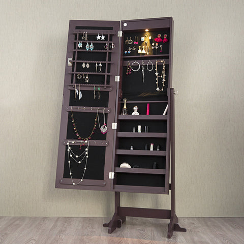 Lockable Mirrored Jewelry Cabinet Armoire Organizer Storage Box w/ Stand LED - cloudmountainproducts