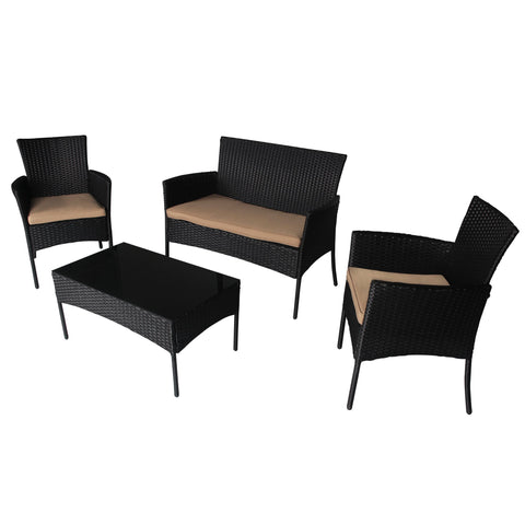 4 PC Wicker Rattan Patio Set Cushioned Furniture Outdoor Lawn Sectional Seat - cloudmountainproducts