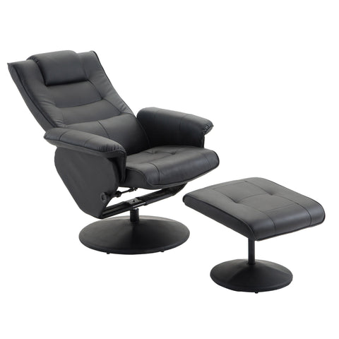 PU Leather Recliner Chair w/Ottoman Leisure Swivel Sofa Executive Furniture Set - cloudmountainproducts