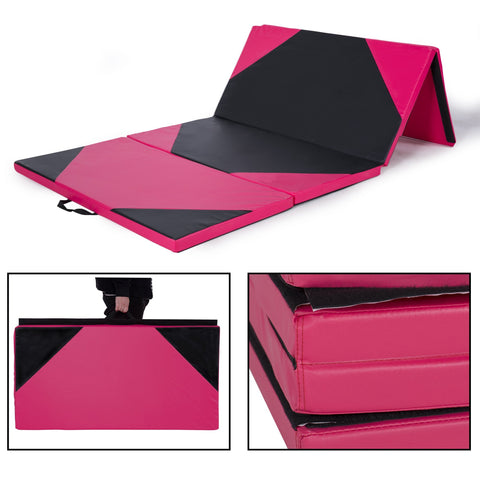 4' x 10' x 2 inch  Gymnastics Gym Folding Exercise Mat Yoga Panel Fitness Pink Black - cloudmountainproducts