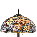Tiffany Style 24 Inch Lampshade Floor Lamp Victorian Magnolia Lamp Home Decor Stained Glass Lighting