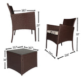 Outdoor 3 PC Bistro Sofa Set Cushioned Wicker Sectional Furniture Coffee Table