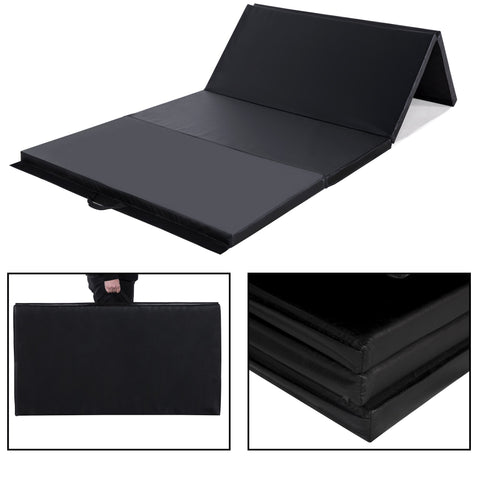 4 FT  x 8 FT  x 2 inches  Gymnastics Gym Mat Folding Exercise Yoga Panel Fitness Pad Black - cloudmountainproducts