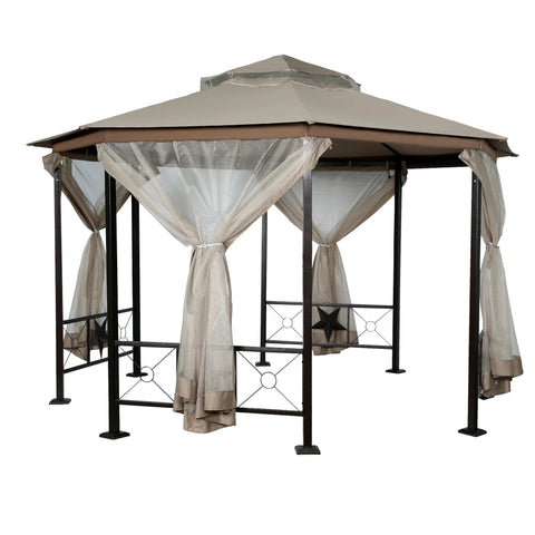 Garden Gazebo Fabric Canopy 12 FT  x 12 FT  Patio Backyard Double Roof Vented Netting - cloudmountainproducts