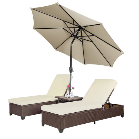 4 PC Outdoor Patio Wicker Rattan Pool Chaise Lounge Chair w/ Adjustable Umbrella