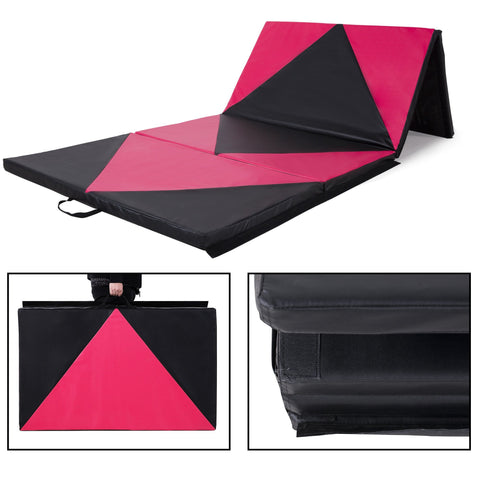4 FT  x 10 FT  x 2 inches  Gymnastics Gym Mat Folding Exercise Yoga Panel Fitness Pink Black - cloudmountainproducts