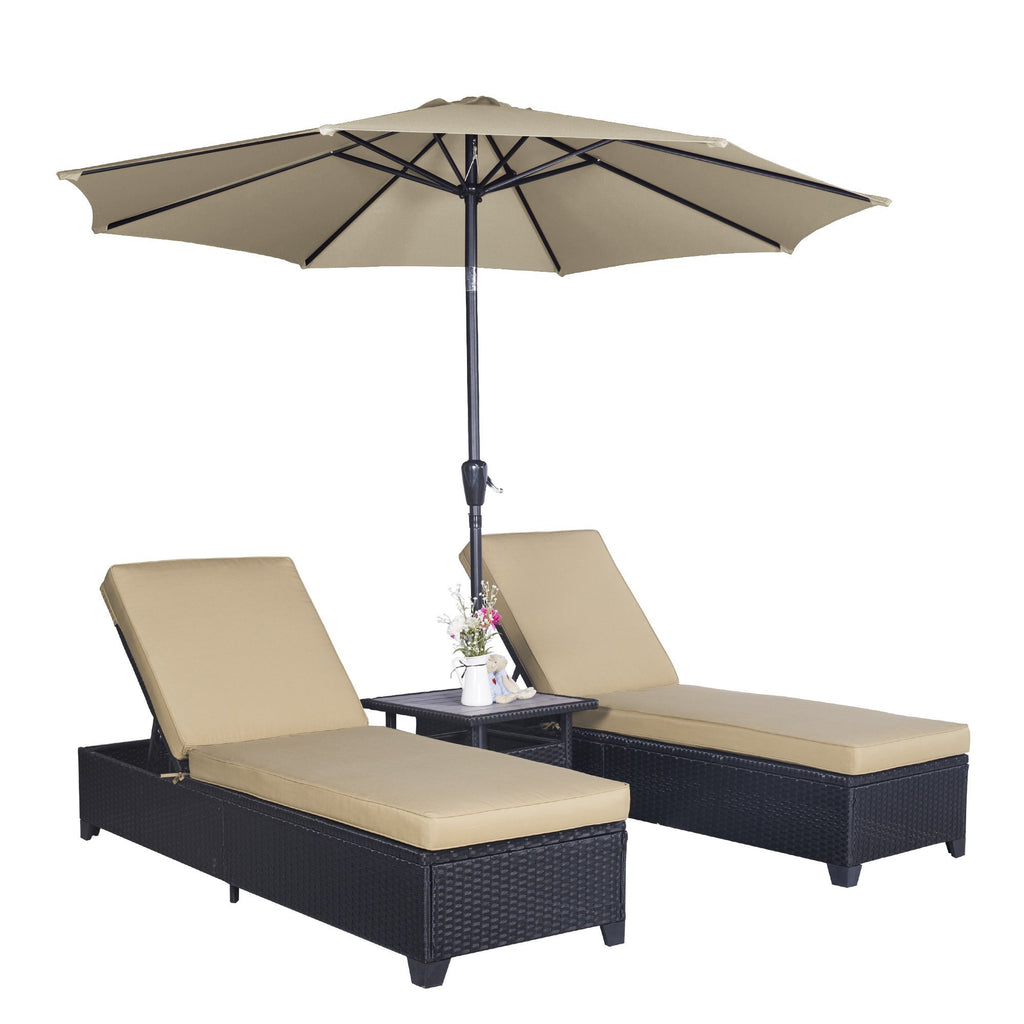 Outdoor 4PC Patio Wicker Rattan Chaise Lounge Chairs with 9 FT  Umbrella Adjustable